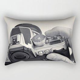 Retro SLR camera in hands photographer Rectangular Pillow