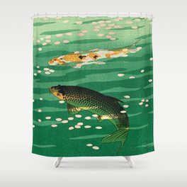 Vintage Japanese Woodblock Print Asian Art Koi Pond Fish Turquoise Green Water Cherry Blossom Shower Curtain