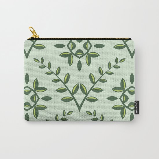 Green Olive Branch Pattern Carry-All Pouch