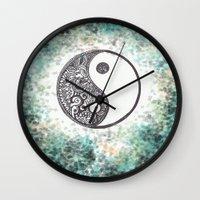 yin yang Wall Clocks featuring Yin & Yang by Hope
