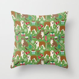 English Bulldog christmas pattern print pet friendly pet portrait dog art Throw Pillow