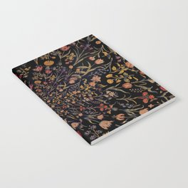 Medieval Flowers on Black Notebook