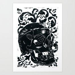 Black Lino Skull Art Print