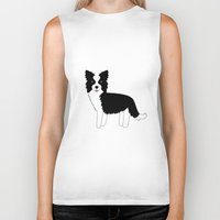 border collie Biker Tanks featuring Border Collie  by Heroinax