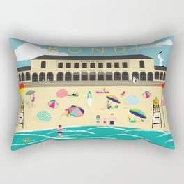Bondi Beach Vintage Style Art Print Rectangular Pillow