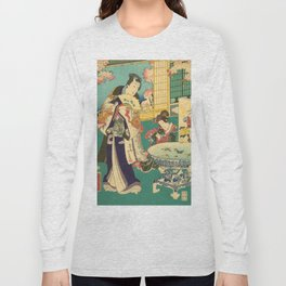 Spring Outing In A Villa Diptych #1 by Toyohara Kunichika Long Sleeve T-shirt