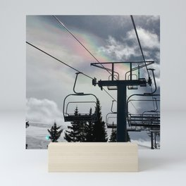4 Seat Chair Lift Rainbow Sky \\ The Mountain Sun Rays \\ Spring Skiing Colorado Winter Snow Sports Mini Art Print
