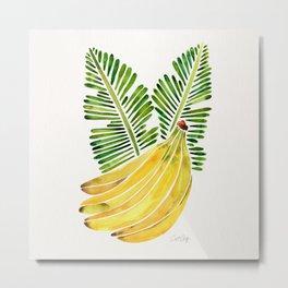 Banana Bunch – Green Leaves Metal Print