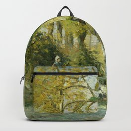 """Camille Pissarro """"The Goose Girl at Montfoucault (White Frost)"""" Backpack"""