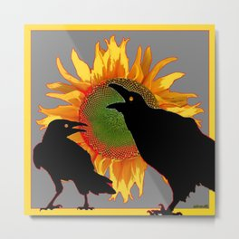 Two Contentious Crows/Ravens & Yellow Sunflower Grey Art Metal Print