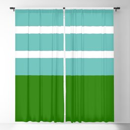 Summer Delight, teal, white and green Blackout Curtain