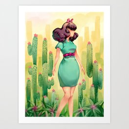 Succulent Girl Art Print