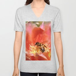 Prickly Pear Cactus Blossom with Visitor Unisex V-Neck