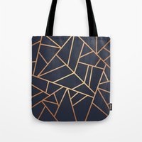 copper Tote Bags featuring Copper and Midnight Navy by Elisabeth Fredriksson