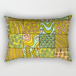 patchwork dreams retro flower quilt dreams of waves Rectangular Pillow