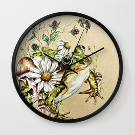 Toad and Wild Flowers Wall Clock
