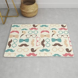 Hipster Fashion Pattern - Red Yellow Blue and Brown Rug