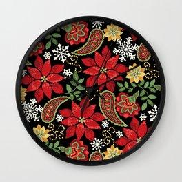 Christmas Poinsettia Paisley Wall Clock