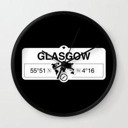 Glasgow Scotland GPS Coordinates Map Artwork with Compass Wall Clock