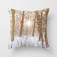 Sunshine in the snowy forest Throw Pillow