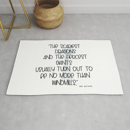 Scary Dragons Fierce Giants and Windmills Typographic Inspirational Art A511 Rug