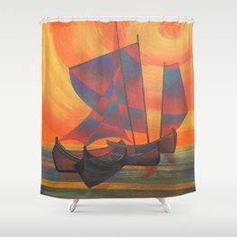 Red Sails in the Sunset Cubist Junk Abstract Shower Curtain