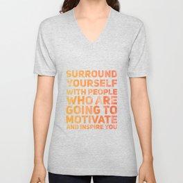 Surround Yourself Quote Red & Orange Unisex V-Neck