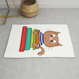 Cat and books Rug