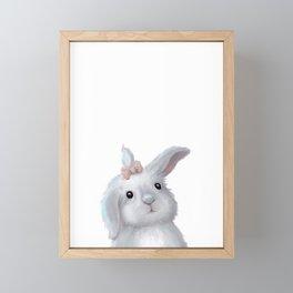 White Rabbit Girl isolated Framed Mini Art Print