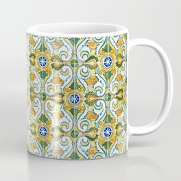Seamless Floral Pattern Ornamental Tile Design : 9 yellow, green Coffee Mug
