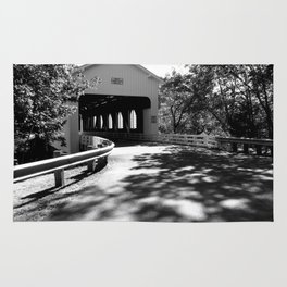 Covered Bridge in Black and White Rug