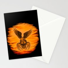 Spider Skull and Eagle in Tattoo Style , Black Red Yellow design Stationery Cards