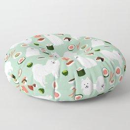 Japanese Spitz sushi kawaii dog portrait custom pet lover pattern by pet friendly Floor Pillow