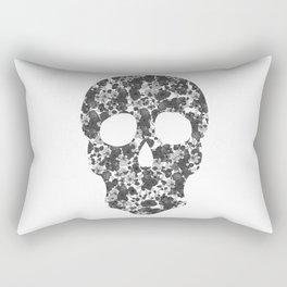 Black and White, Flower Skull Rectangular Pillow