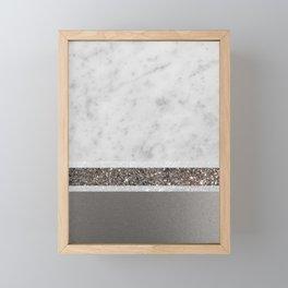 White Marble Silver Glitter Stripe Glam #1 #minimal #decor #art #society6 Framed Mini Art Print