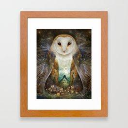 Owl, Mountain, Moon Framed Art Print