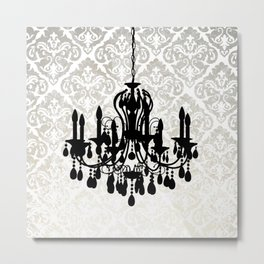 Chandelier Silhouette Metallic Damask Backdrop Metal Print