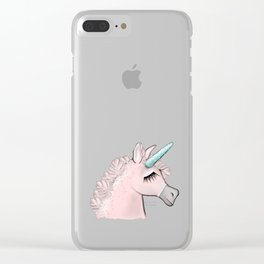 Pink Unicorn Clear iPhone Case