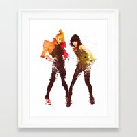 2ne1 Framed Art Prints featuring 2NE1 CL & Minzy by Margot Park