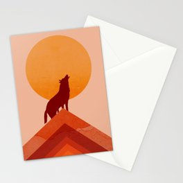 Abstraction_Midnight_Summer_Wolf_Moon_001 Stationery Cards