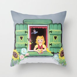 Even The Birds Bring Her Pretty Flowers Throw Pillow