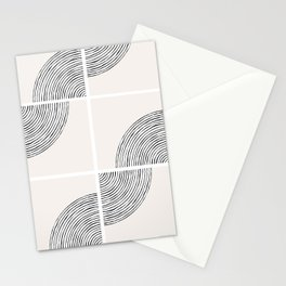 Threads; Black, White and Neutral Tile Pattern Stationery Cards