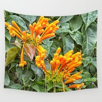 trumpet Wall Tapestries featuring Orange trumpet flower by Wendy Townrow