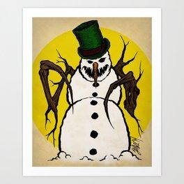 Sinister Snowman Art Print