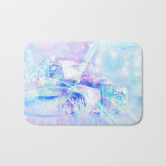 Old car in pink and blue space Bath Mat