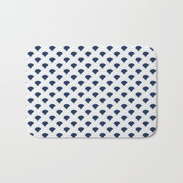 Blue and white Japanese style geometric pattern Badematte