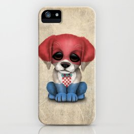 Cute Puppy Dog with flag of Croatia iPhone Case