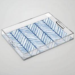 Shibori Herringbone Pattern Acrylic Tray