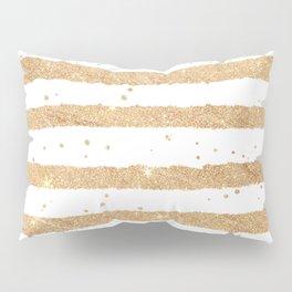 Elegant white faux gold glitter geometrical stripes Pillow Sham