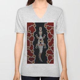 Crocodile - Authentic Aboriginal Art Unisex V-Neck